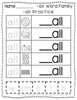 -all Word Family Anchor Chart & Practice {Click File