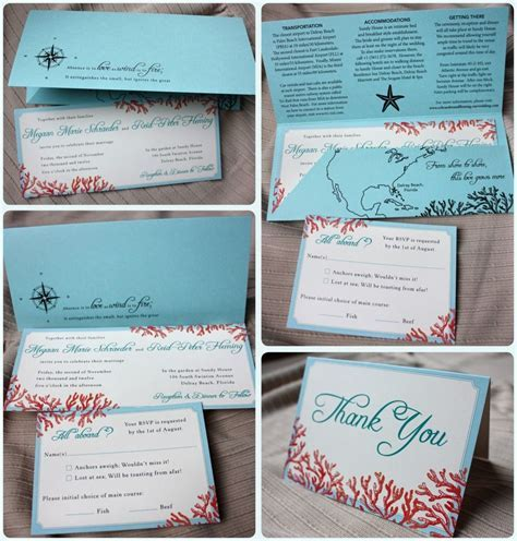 Tiffany Blue, Teal & Red Beach Coral Horizontal Wedding