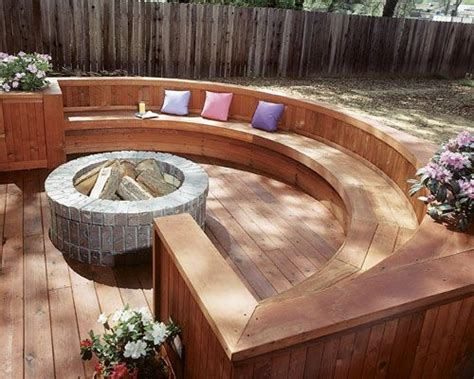 pit built into deck 25 best curved outdoor benches ideas on wood