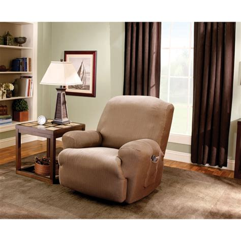 recliner slipcover walmart sure fit stretch stripe recliner slipcover walmart com