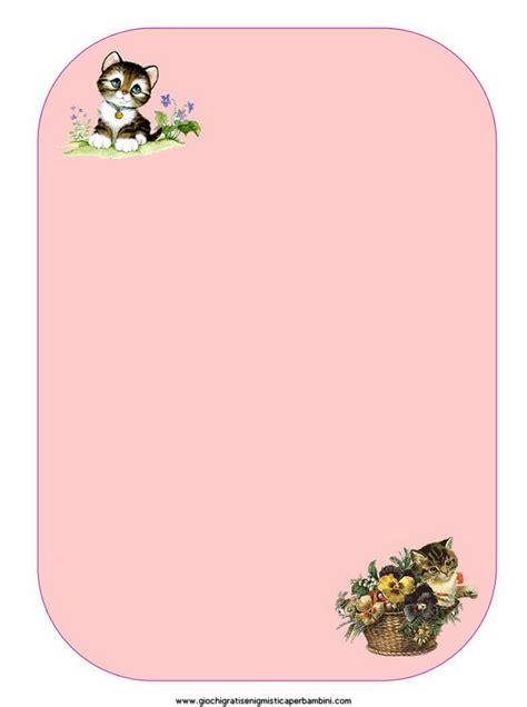 fogli per lettere carta da lettere con sfondo rosa e gattini