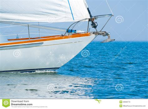 sailboat bow bow of a beautiful sailboat in the water stock photo
