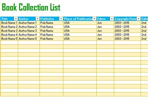 book template excel book tracking list template for excel 174 dotxes