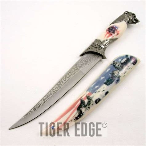 Decorative Knife by Fixed Blade Decorative Knife American Flag Usa Wolf Pack