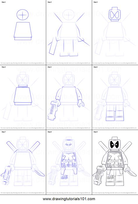 how to draw lego deadpool printable step by step drawing