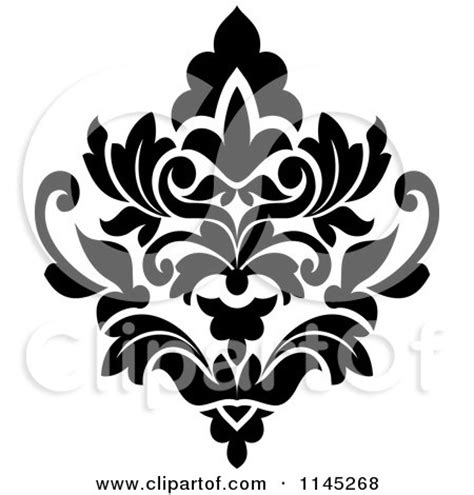 design art black and white clipart of a black and white arabesque damask design 24