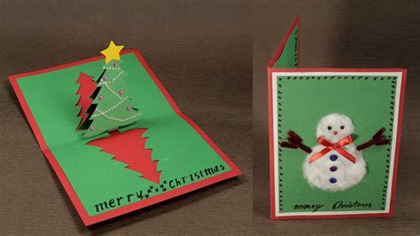 christmas card 3d making how to make diy pop up card with tree and snowman