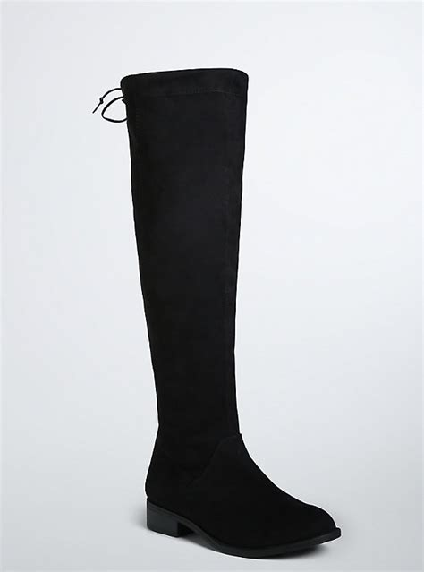 stretch faux suede boots wide width wide calf torrid