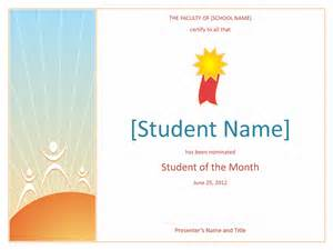 Student Certificate Template by Student Of The Month Award Elementary Free Certificate
