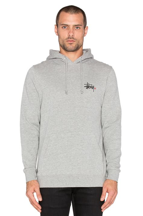 Hoodie Sweater Grey Front Logo stussy basic logo hoodie in gray for lyst