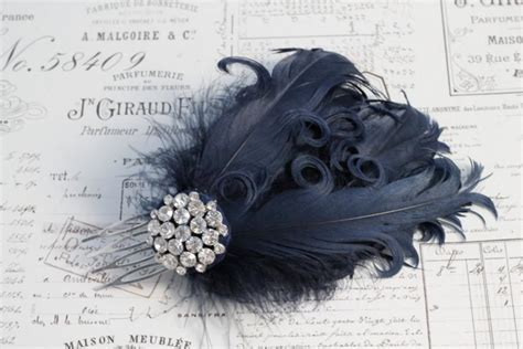 Wedding Hair Accessories With Feathers by Navy Feather Hair Comb Curly Feathers Wedding Hair
