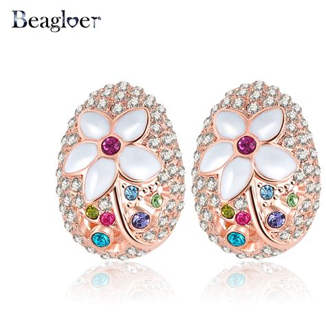 christmas gifts flower shaped stud earrings jewelry rose