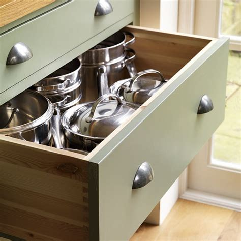 Kitchen Pan Drawers pan drawers step inside this traditional muted green kitchen housetohome co uk