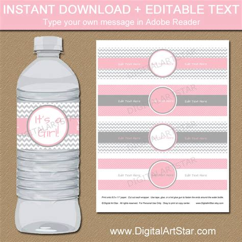 Baby Shower Water Bottle Labels Template Chevron Water Bottle Labels Printable Ba Shower Water Hnc Water Bottle Baby Shower Labels Template