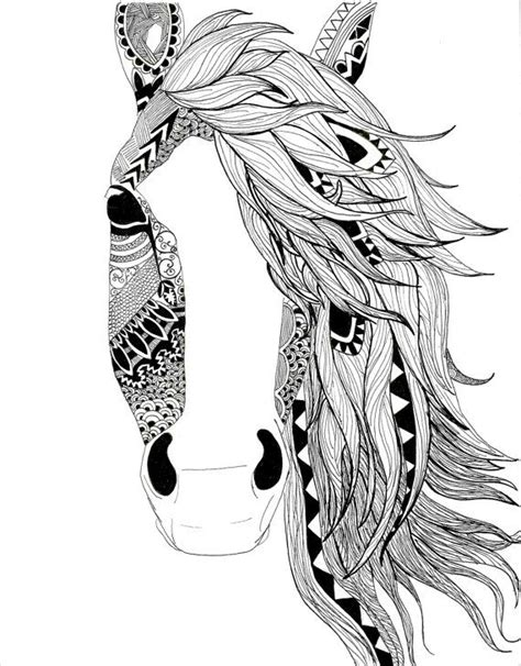 Pattern Horse Drawing | horse illustration pen black and white aztec pattern