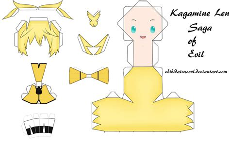 len papier len kagamine papercraft saga of evil by chibidairacool on