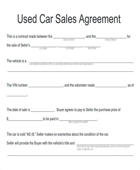 car payment plan agreement template sle car sales contract 12 exles in word pdf
