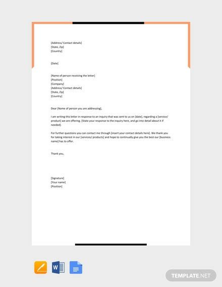 business inquiry letter template word
