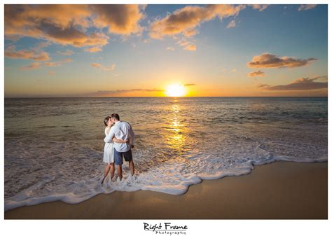 romantic beach sunset beach engagement photography oahu hi by right frame