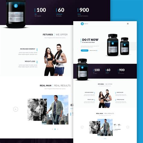 product layout psd supplement product landing page free psd download