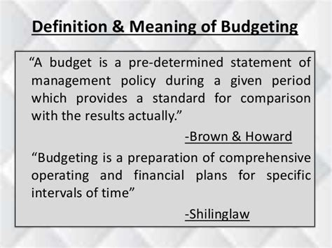 Pre Mba Def by Budget Budgeting Budgetary