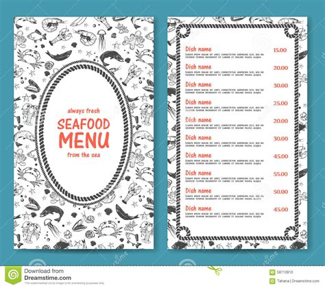 elegant and simple seafood restaurant or cafe menu stock