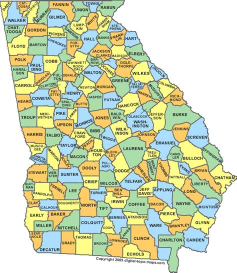 county maps county map ga counties map of