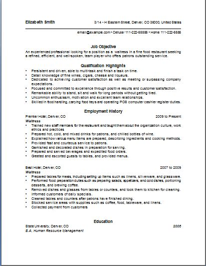 resume waitress exle description of a waitress for a resume writing