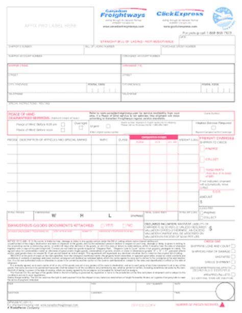 bill of lading template canada bill of lading form templates fillable printable