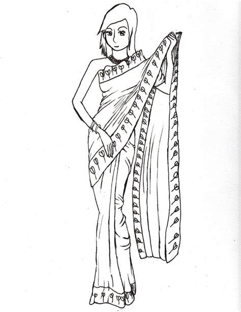 indian dress coloring page traditional dress free colouring pages