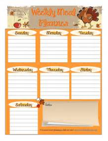 thanksgiving menu planner template free printable meal planner november