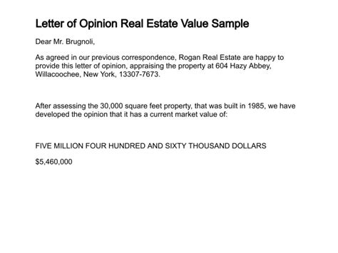 Appraisal Opinion Of Value Letter Letter Of Opinion