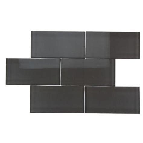 smoke gray glass subway tile splashback tile contempo smoke gray polished 3 in x 6 in
