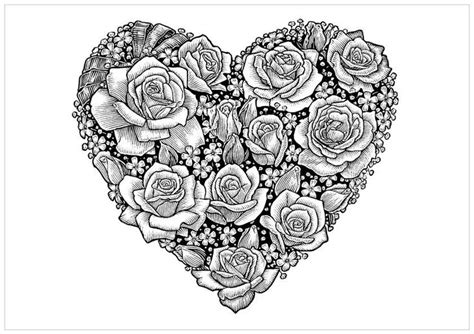 coloring pages for adults roses and hearts amazingly exquisite free printable coloring pages of