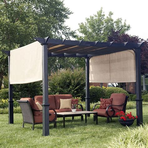 pergola at lowes shop garden treasures matte black steel freestanding pergola with canopy common 7 6 ft x 10 ft