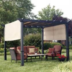 steel pergola with canopy shop garden treasures matte black steel freestanding pergola with canopy common 7 6 ft x 10 ft