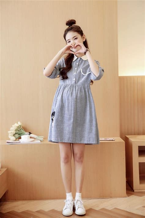 korean embroidery pregnant woman dress striped japanese maternity dress spring cotton clothes