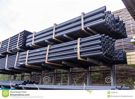 warehouse yard layout rolls of plastic pipes in a warehouse yard stock photo