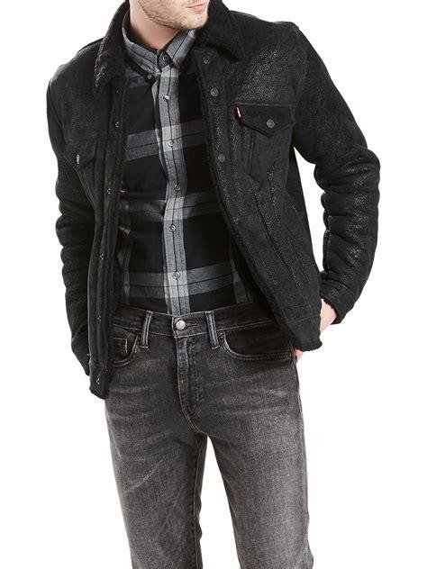 Levi's Shearling Trucker Jacket, Black at John Lewis