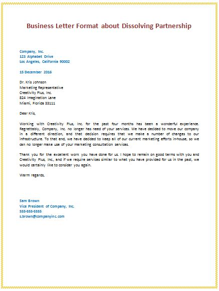layout of order letter 6th business letter format about dissolving partnership