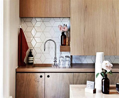 Kitchen Backsplash Ideas Houzz Geometric Tiles Midcentury Kitchen Auckland By