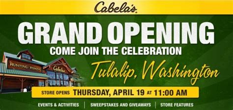 Current Events Sweepstakes - cabela s tulalip grand opening april 19 sweepstakes sales events and more