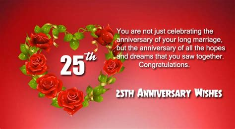 Wedding Anniversary Wishes 25 Years by Happy 25th Anniversary Wishes For And