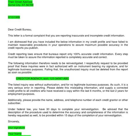 Credit Inquiry Letter Exle Inquiry Removal Letter Letter Of Recommendation