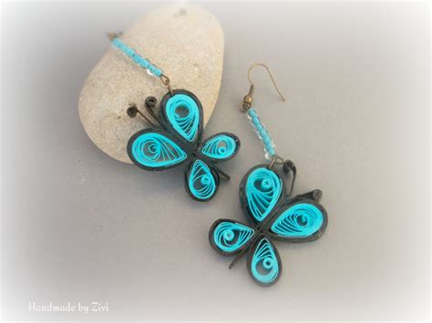 Paper Earrings - paper quilled black butterfly earrings eco friendly
