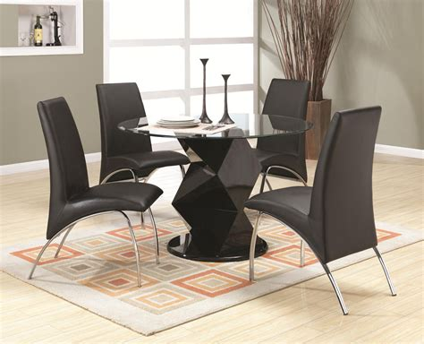 coaster ophelia 120800 120802 black wood and glass dining