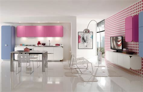 Pink And Blue Kitchen Decor by Pink Blue Kitchen Living Interior Design Ideas
