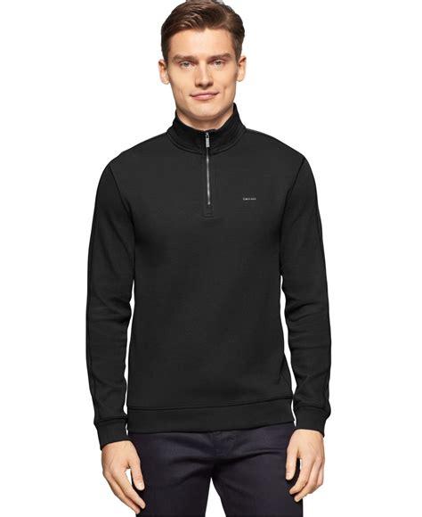 Jaket Sweater Jipper Maroon Rib Black calvin klein rib quarter zip sweater in black for lyst