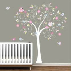 decal stickers vinyl wall decals nursery tree pink owl decor