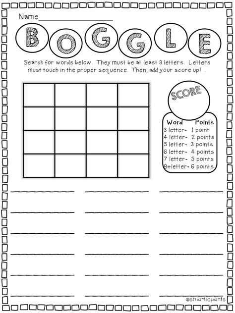 boggle printable template daily 5 word work boggle template http www